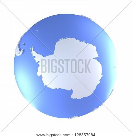 Antarctica On Bright Metallic Earth