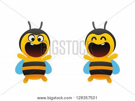 funny bee smiles broadly two types cartoon