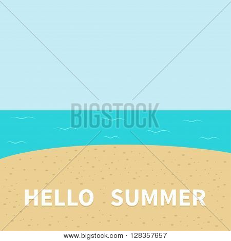 Hello summer Beach sea ocean sky sand. Cute cartoon baby character. Sea ocean animal collection. Greeting card. Summer time background. Flat design. Vector illustration