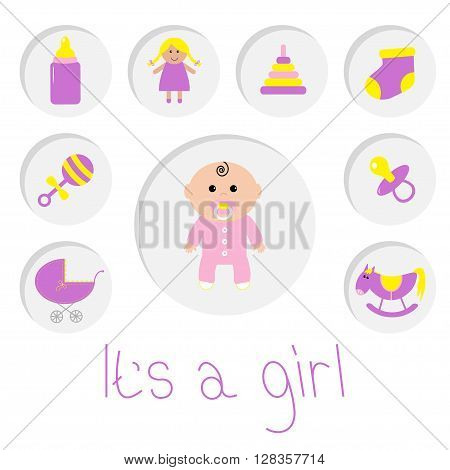 Its a girl. Baby girl shower card. Bottle horse rattle pacifier sock doll baby carriage pyramid toy. Round icon set. Isolated. White bacground Flat design Vector illustration