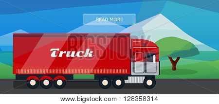 Logistic routes lorry banner. Logistics truck banner for industry web and print. Flat style vector illustration of a cargo lorry.