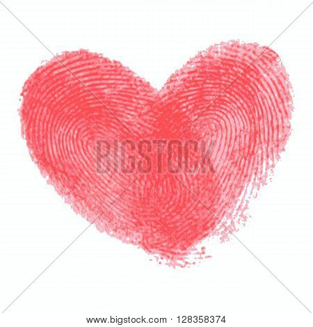 Creative poster with double fingerprint heart. Red realistic thumbprint isolated on white. For wedding, honeymoon, valentines day or romantic design. Qualitative trace of real finger print