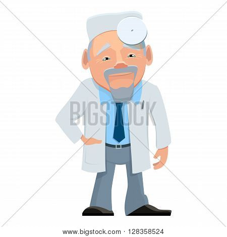Vector illustration of a doctor in a white uniform. Cartoon happy smiling doctor isolated. Doctor otolaryngologist with stethoscope and paperwork in hand. Medical cartoon person.