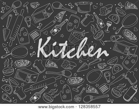Kitchen chalk line art design vector illustration. Separate objects. Hand drawn doodle design elements.