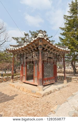 SEOUL SOUTH KOREA - MARCH 14 2016: Hyojagak pavilion (circa 19th c.) in National Folk Museum in Seoul Korea. Erected to protect special commemorative stone of Heo Gweon (1847-1895)