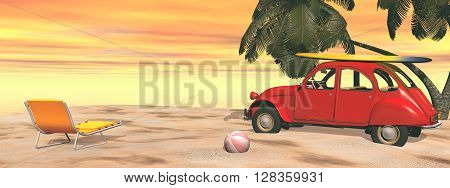 Deuch french car holidays at the beach, relaxing and surfing - 3D render