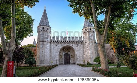 Istanbul, Turkey, 26 June, 2015: Low angle view of the entrance of the Topkapi Palace, Gate of Salutations, Topkapi Palace, Istanbul, Turkey.  It is also known as the Middle Gate, leads into the palace and the Second Courtyard.