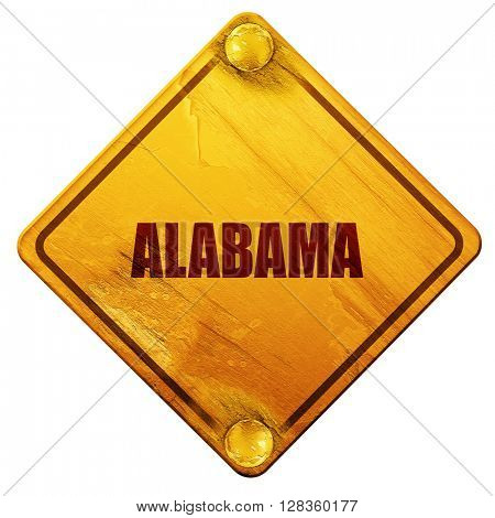 alabama, 3D rendering, isolated grunge yellow road sign