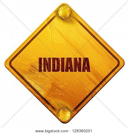 indiana, 3D rendering, isolated grunge yellow road sign