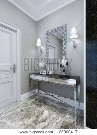 Console and mirror at luxury hall. 3d render
