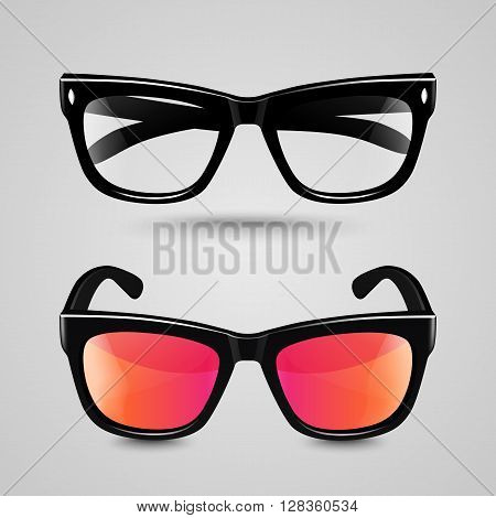 Eye glasses set. Sunglasses and reading eyeglasses with black color frame and transparent lens in different shade.