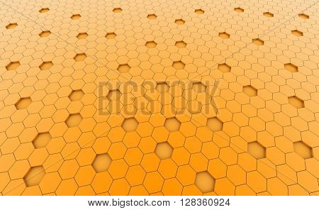 Hexagonal yellow cell texture. Speaker grille. Fashion geometric design. Graphic style for wallpaper wrapping fabric apparel print production.