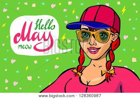 Red Head Girl With Placard Board And Text Hello May Isolated On White Background