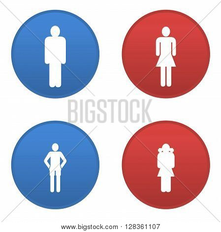 Man, woman, girl and boy icons isolated in white background