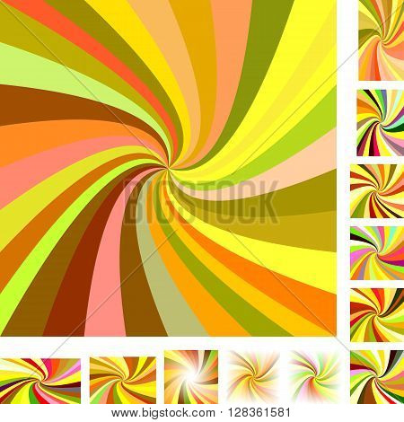 Colorful vector spiral design background set. Different color, gradient, screen, paper size versions.