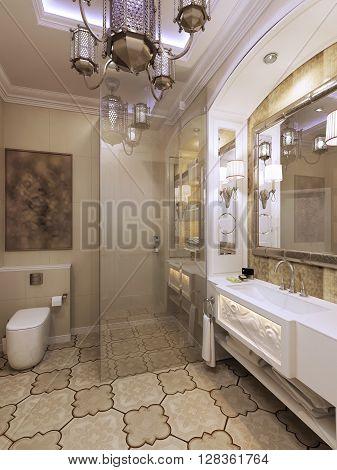 Elegant bathroom in moroccan style. 3d render
