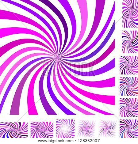 Pink and purple vector spiral design background set. Different color, gradient, screen, paper size versions.