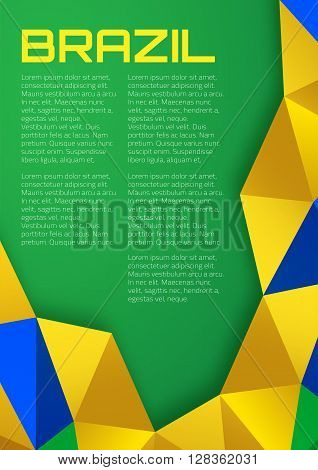 Abstract geometric background using Brazil flag colors, a4 format. Abstract vector template A4 size design, brochure, Web sites, page, leaflet, with Brazil colored geometric shapes. Brazil Banner