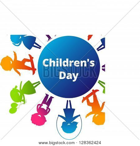 Children's Day concept. Cute children silhouettes around the World. Earth Planet with colored children silhouettes.