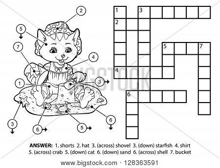 Vector Colorless Crossword. Cat On The Beach