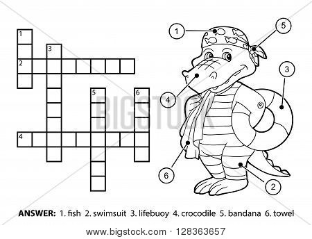 Vector Colorless Crossword. Crocodile Swimmer With Lifebuoy
