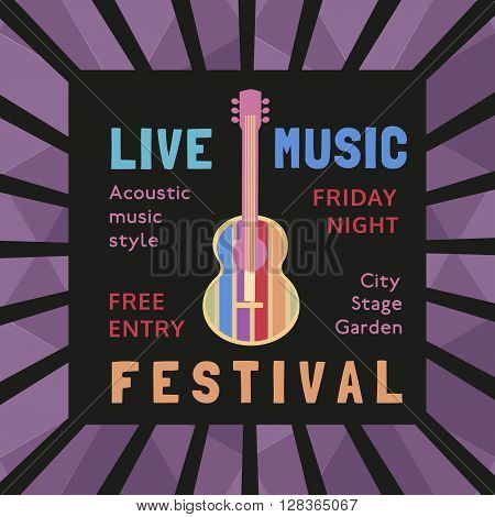 Template Design Poster with acoustic guitar silhouette. Idea for Live Music Festival music show with guitar. Musical Festivals promotion advertisement. Vector illustration.