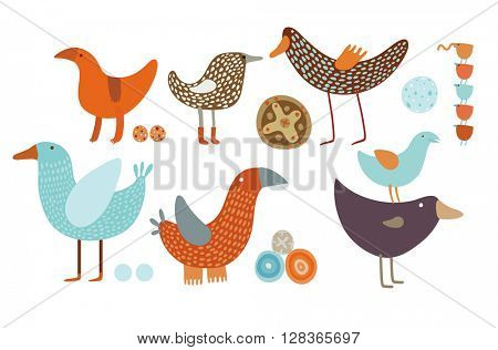 Orange and blue vector birds set