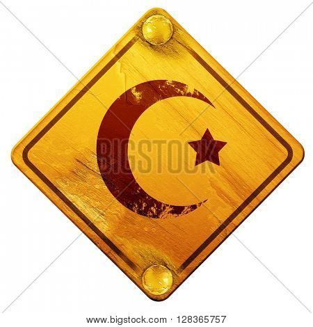 Islam faith symbol, 3D rendering, isolated grunge yellow road si
