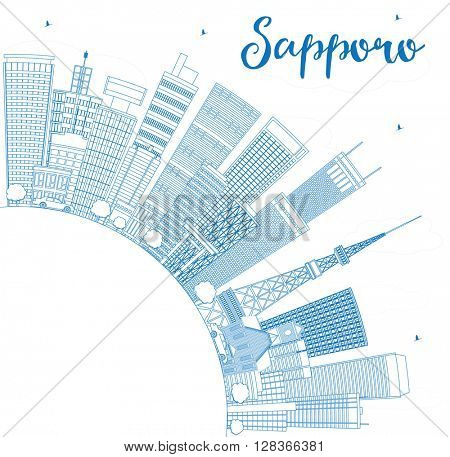 Outline Sapporo Skyline with Blue Buildings and Copy Space. Business and Tourism Concept with Modern Buildings. Image for Presentation, Banner, Placard or Web Site.