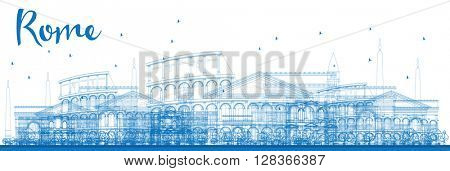 Outline Rome skyline with blue landmarks. Business travel and tourism concept with historic buildings. Image for presentation, banner, placard and web site.