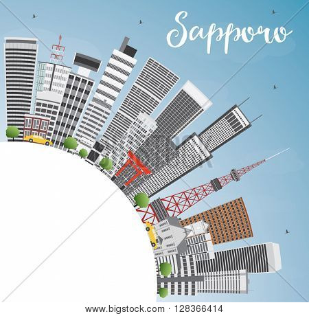Sapporo Skyline with Gray Buildings, Blue Sky and Copy Space. Business and Tourism Concept with Modern Buildings. Image for Presentation, Banner, Placard or Web Site.