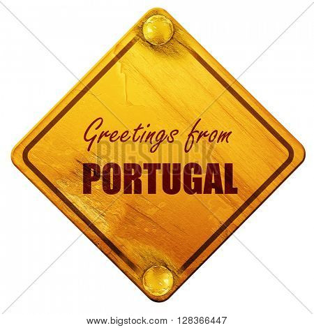 Greetings from portugal, 3D rendering, isolated grunge yellow ro