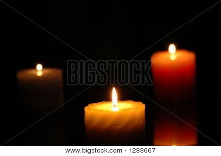 Three Candles In The Darkness - Focus On The Middle One