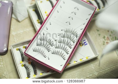 Set of false eyelashes in box for makeup