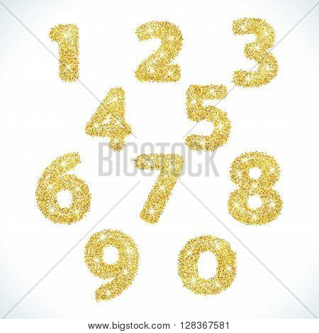 Numbers set in golden style. illustration gold design. Formed by yellow shapes. For party poster, greeting card, banner or invitation. Cute numerical icons and signs.