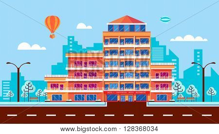 Stock vector illustration city street with hotel, apartments, apartment building, guesthouse, modern architecture in flat style element for infographic, website, icon, games, motion design, video