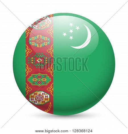 Flag of Turkmenistan as round glossy icon. Button with Turkmenian flag