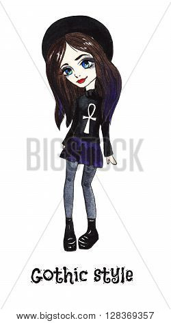 Gothic style. Sweet girl in a black hat, the doll on white background. Watercolor illustration