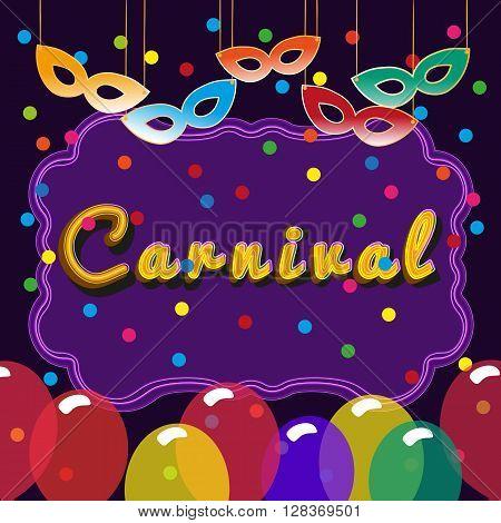 Advertising border billboard for carnival. Billboard to advertise show. Banner border for masquerade festival show carnival party. Vector Illustration.