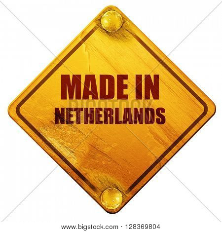Made in the netherlands, 3D rendering, isolated grunge yellow ro