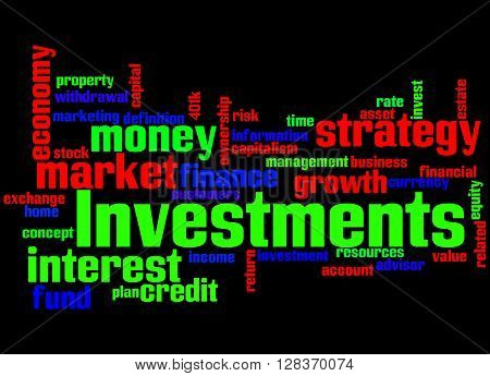 Investments, Word Cloud Concept 6