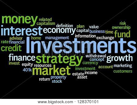 Investments, Word Cloud Concept 8