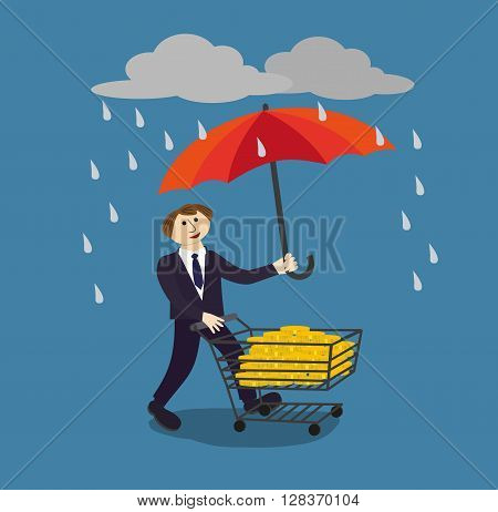 Businessman holding umbrella to protect money. Financial savings management poster concept. Risk manager protecs finance by proper management's umbrella in the rain of risks. Vector Illustration.