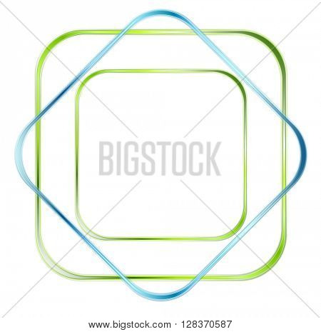 Abstract green and blue glossy squares vector logo background