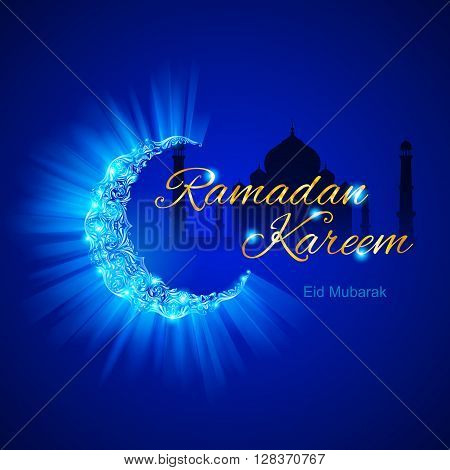 Glowing Crescent Moon by Taj-Mahal in brilliant blue shades on dark blue background. Greeting card of holy Muslim month Ramadan