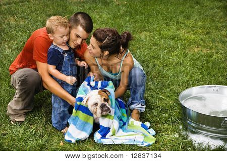 Caucasian family with toddler son drying English Bulldog with towel after a bath outdoors.