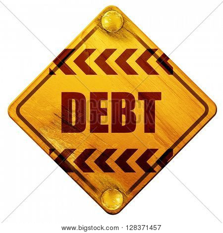 Debt sign with some smooth lines, 3D rendering, isolated grunge