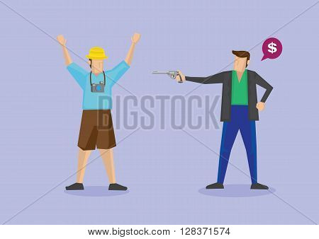 Robber pointing a handgun at tourist and asking for money. Vector illustration of isolated cartoon characters for concepts related to tourist robbery and travel safety.