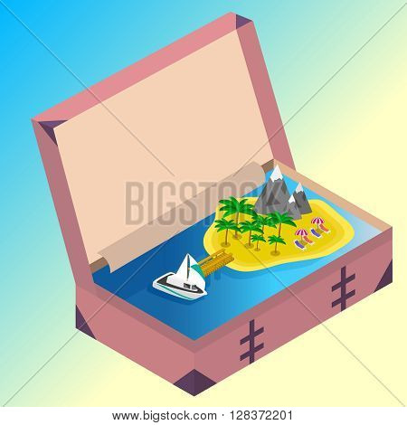 Trip to Summer holidays. Travel to Summer holidays. Vacation. Road trip. Tourism. Travel banner. Open suitcase with landmarks, Sea and island. Journey. Travelling 3d isometric illustration. Modern flat design banner