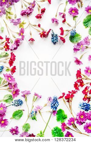 wreath frame with wildflowers isolated on white background. flat lay overhead view
